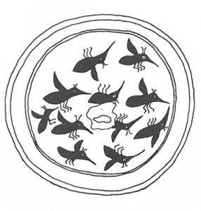Rundt år 1200 var det en pottemaker fra New Mexico som dekorerte en skål med denne myggesverm. (etter Rodeck)