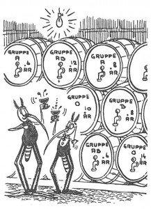 """Den første mygg: Jeg leser i """"Stikk og Kløe"""" at myggen ikke skiller mellom forskjellige menneskers blod, men kun tiltrekkes av varme og fuktighet. Den annen mygg: Vel vel, det står også at hannmyggen ikke suger blod, men jeg kan jo se på våres følehorn at vi er hanner. Første mygg: For en dum bok. (tegning fra Don Martin i MAD)"""